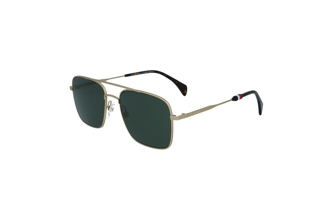 משקפי שמש מבית Tommy Hilfiger בדגם טייסים מרובע בגוון זהוב ועדשות ירוקות
