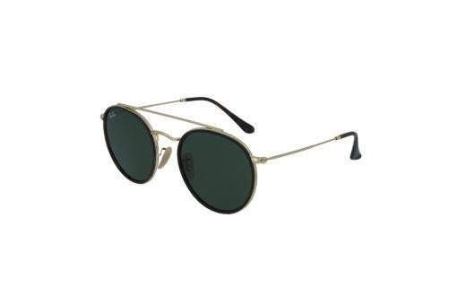 משקפי שמש מבית Ray Ban בדגם טייסים בגווני מנומר כהה וזהב ועדשות בגוון ירוק