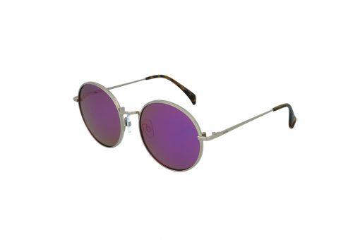 משקפי שמש מבית COOLRAY במסגרת מתכת עגולה כסופה ועדשות מראה סגולות