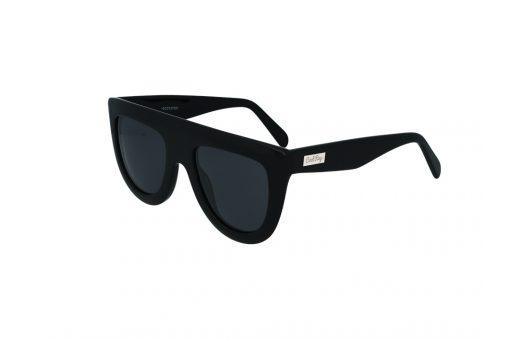 משקפי שמש מבית COOLRAY במסגרת אצטט שחורה בסגנון טייסים עם  חיתוך עליון ישר ועדשות אפורות
