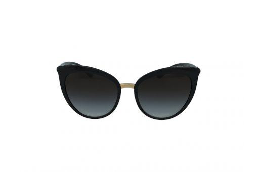 משקפי שמש מבית Dolce&Gabbana בדגם אובר סייז חתולי בגווני שחור וזהב ועדשות מדורגות