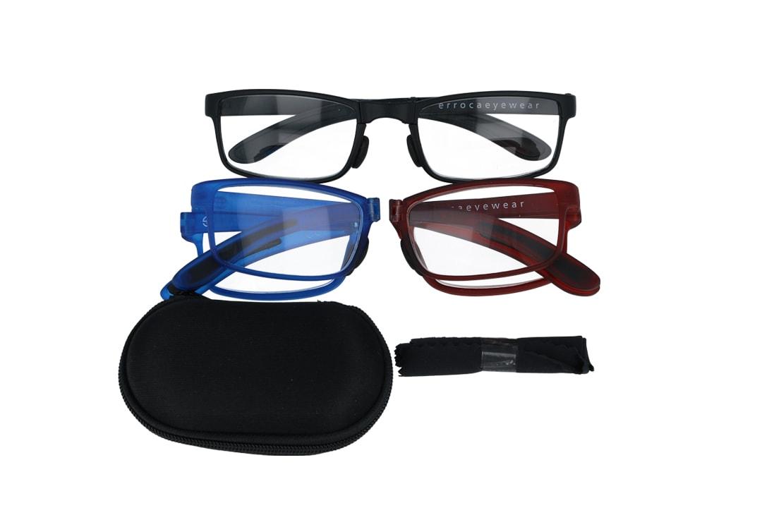 מארז 3 זוגות משקפי קריאה מתקפלים בגוונים שחור, בורדו, וכחול שקוף מספר מידות לבחירה
