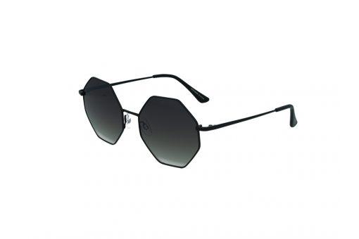 משקפי שמש מבית COOLRAY במסגרת מתכת גאומטרית בצורת מתומן בשילוב של שחור עם עדשה אפור מדורג