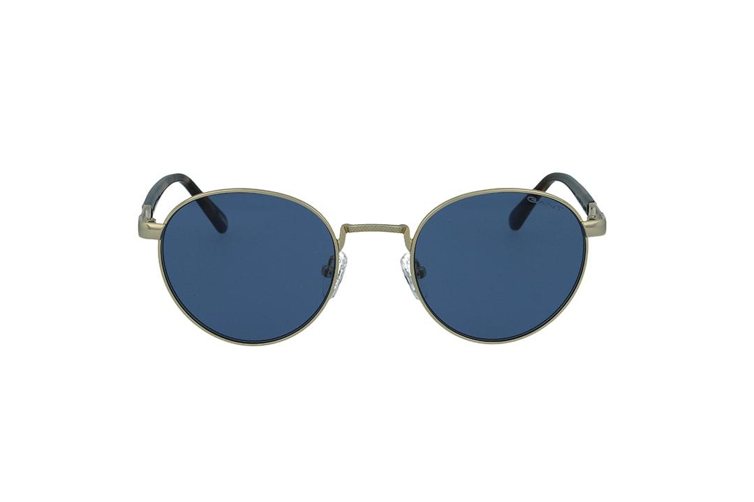משקפי שמש מבית Gant בדגם עגול בגווני זהב ומנומר ועדשות בגוון כחול