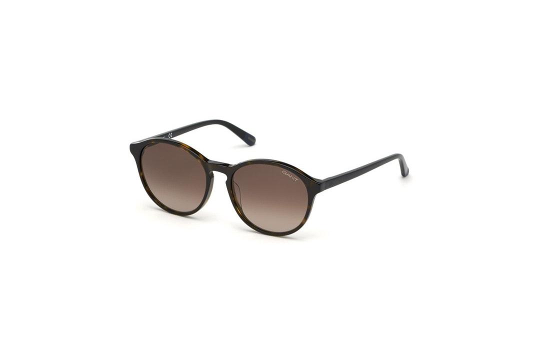 משקפי שמש מבית Gant בדגם אובר סייז עגול בגווני שחור ומנומר ועדשות בגוון חום