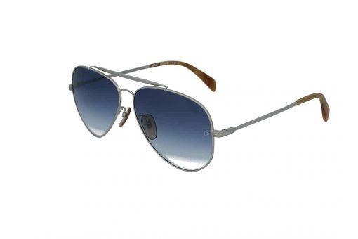 משקפי שמש מבית DB eyewear by David Beckham בדגם טייסים בגוון כסוף ועדשות מדורגות בגוון כחול