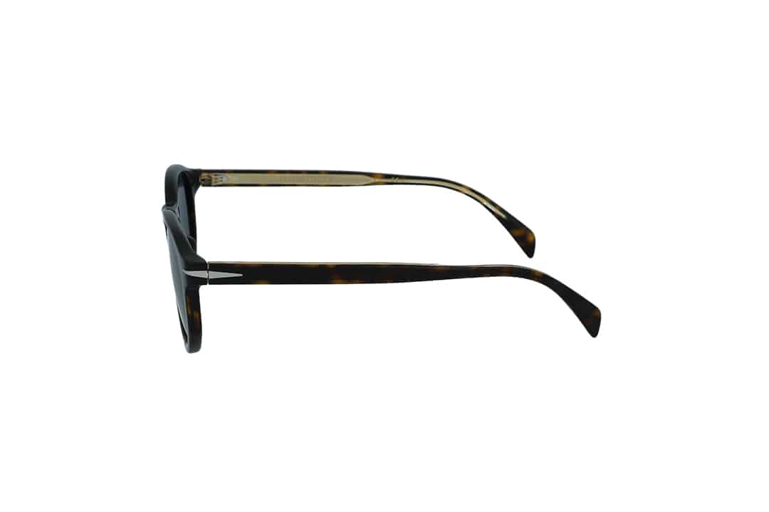 משקפי שמש מבית DB eyewear by David Beckham בדגם עגול בגוון מנומר כהה ועדשות בגוון כחול