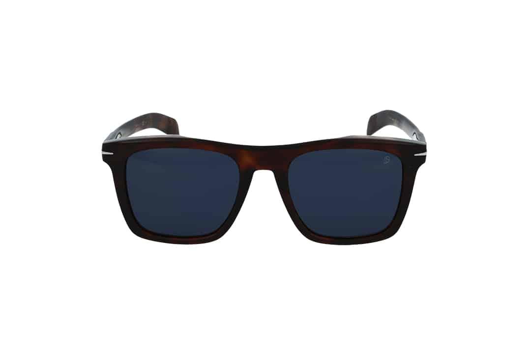 משקפי שמש מבית DB eyewear by David Beckham בדגם מרובע בגוון חום ועדשות בגוון כחול