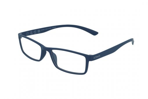 משקפיים מבית ULTEMATE בגוון כחול עם עדשות בלו לייט מסננות את האור הכחול הבוקע מתאורה מלאכותית ומסכים, ובכך מסייעות בהפחתת נזקים בריאותיים, בשיפור איכות-השינה והריכוז. העדשות בעלות גוון צהבהב, המרגיע ומפחית עומס על העיניים. העדשות מגיעות ללא מספר