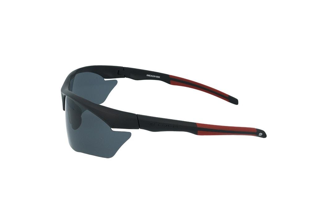 משקפי שמש ספורטיבים מבית ERROCA EYEWEAR במבנה קמור המגן על העיניים, אפונים וזרועות גמישים להתאמה מושלמת לפנים ועדשות פולארויד לחווית ראיה רגועה וללא סינוורים