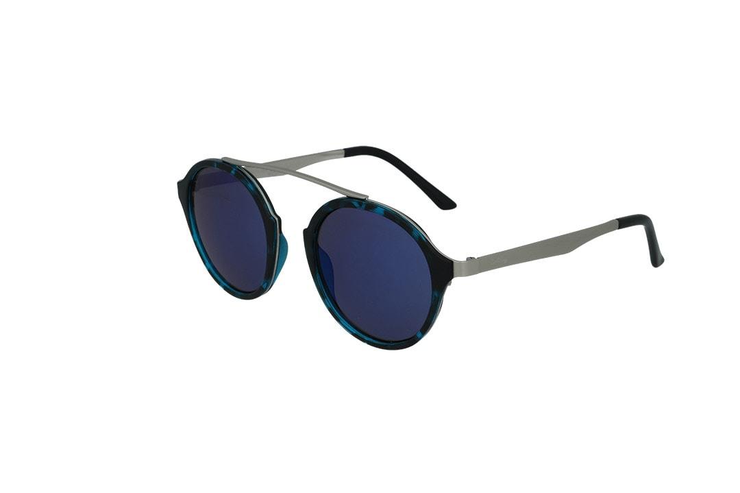 משקפי שמש מבית Cool Ray מסגרת עגולה בגוון כחול נמר-כסף