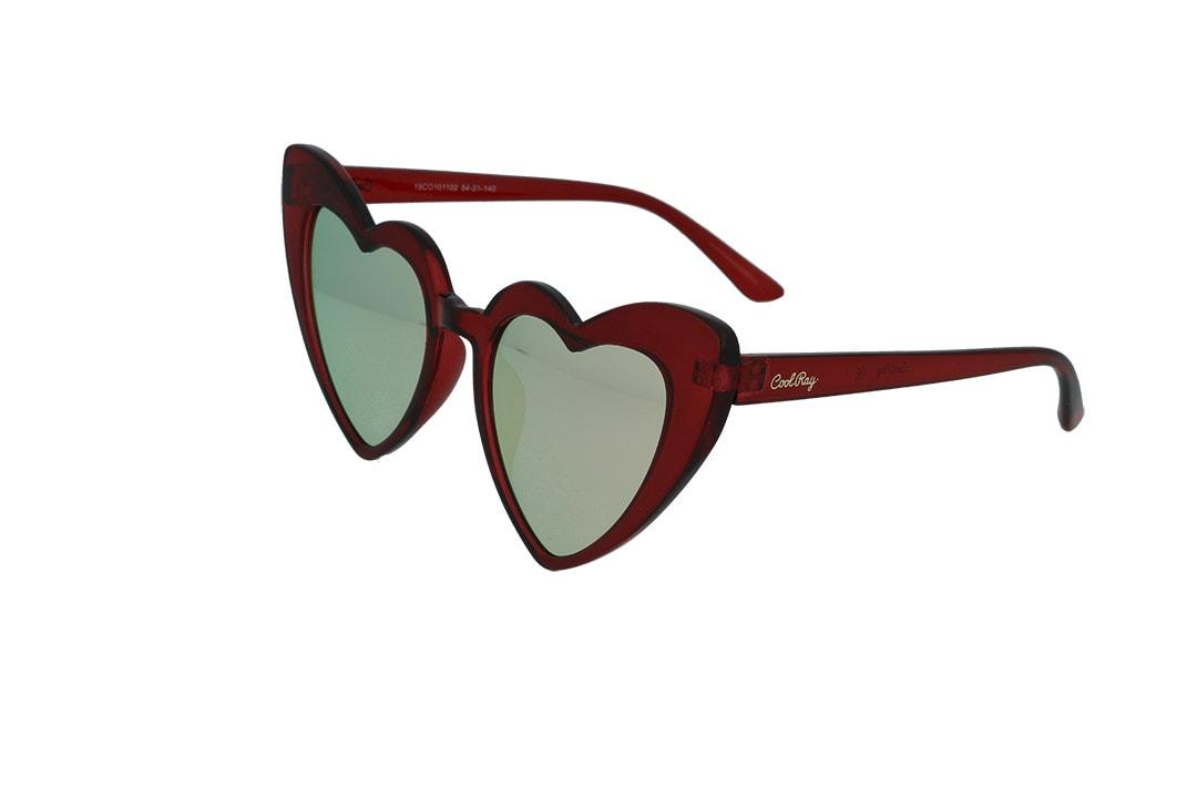 משקפי שמש מבית Cool Ray מסגרת לב בגוון אדום