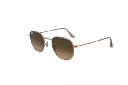 משקפי שמש מבית Ray Ban בדגם גיאומטרי בגוון רוז גולד ועדשות בגוון חום מדורג