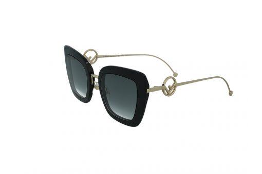משקפי שמש מבית Fendi בדגם חתולי בגווני שחור וזהב ועדשות תואמות