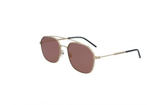 משקפי שמש מבית Tommy Hilfiger בדגם יוניסקס גיאומטרי בגוון זהוב ועדשות בגוון ורוד