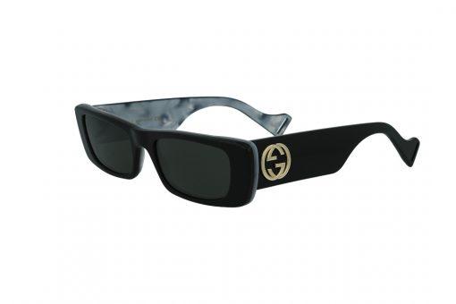 משקפי שמש GUCCI הדגם האייקוני בעל מסגרת מרובעת בעל עיטורים פנימיים ואלמנט הלוגו בגוון זהב