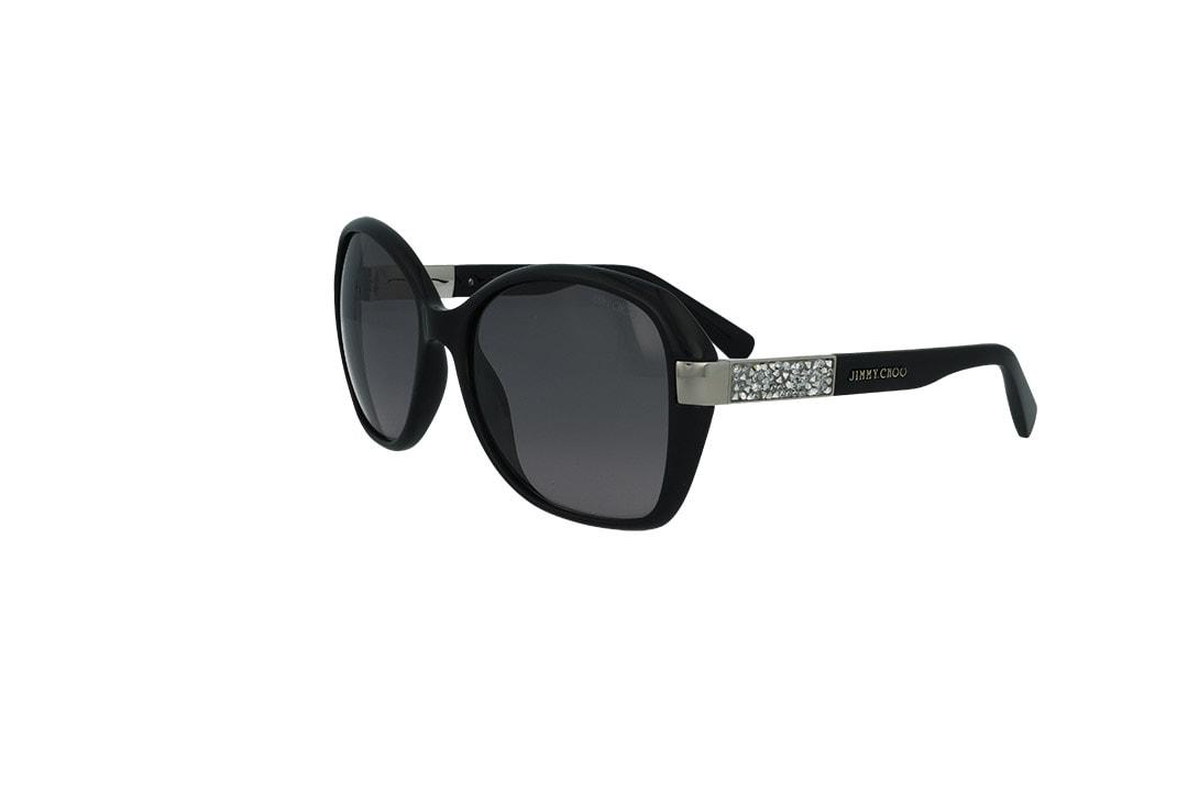 משקפי שמש מבית JIMMY CHOO בדגם נשי חתולי  בגוון שחור וזהב ועדשות בגוון אפור מדורג