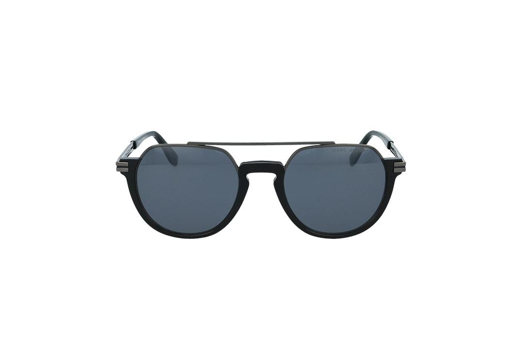 משקפי שמש מבית MARC JACOBS בדגם עגול נשי בגוון  שחור וכסף ועדשות בגוון אפור
