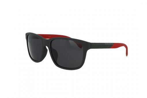 משקפי שמש BOSS בסגנון מרובע בגוון שחור בשילוב של כחול כהה ועדשות בגוון אפור כהה