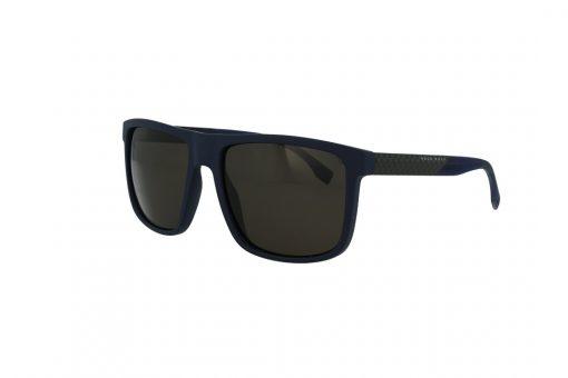 משקפי שמש BOSS בסגנון מרובע בגוון שחור בשילוב של אדום כהה ועדשות בגוון אפור כהה