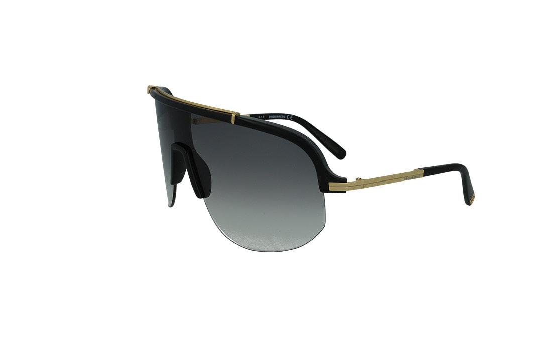 משקפי שמש DSQUARED בסגנון מסכה בגוון שחור-זהב ועדשות בגוון אפור מדורג