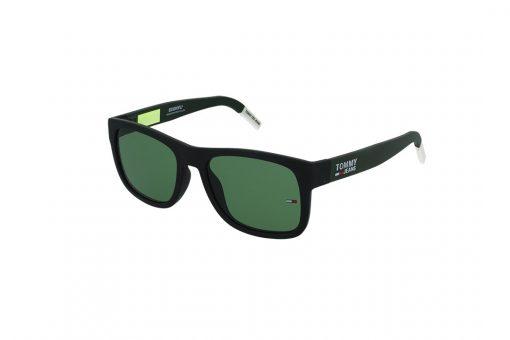 משקפי שמש Tommy Hilfiger בסגנון יוניסקס מרובע בגוון שחור-לבן ועדשות בגוון ירוק כהה
