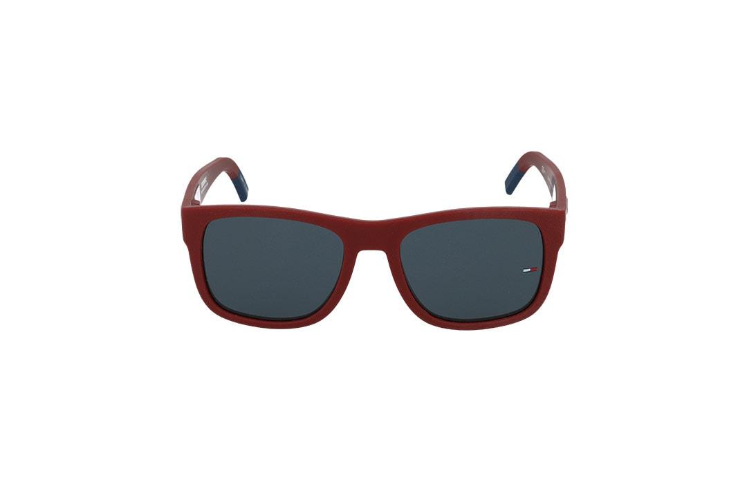 משקפי שמש Tommy Hilfiger בסגנון יוניסקס מרובע בגוון אדום ועדשות בגוון אפור כהה