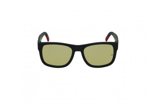 משקפי שמש Tommy Hilfiger בסגנון יוניסקס מרובע בגוון שחור-אדום ועדשות בגוון צחוב