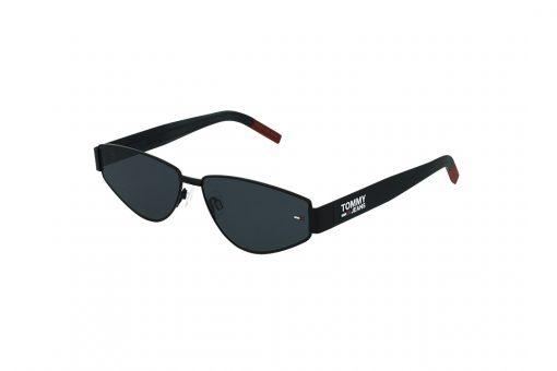משקפי שמש Tommy Hilfiger גאומטרי בגוון שחור-אדום ועדשות בגוון אפור כהה