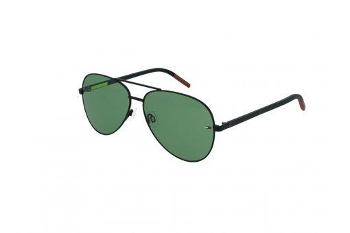 משקפי שמש Tommy Hilfiger בסגנון יוניסקס טייסים בגוון אפור כהה ועדשות בגוון ירוק