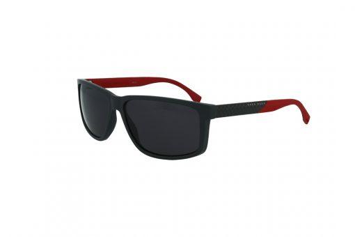 משקפי שמש BOSS בסגנון מרובע בגוון שחור-אפור-אדום ועדשות בגוון אפור כהה