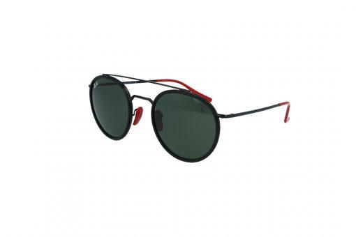 משקפי שמש Ray Ban בסגנון עגול בגוון שחור-אדום ועדשות בגוון ירוק כהה