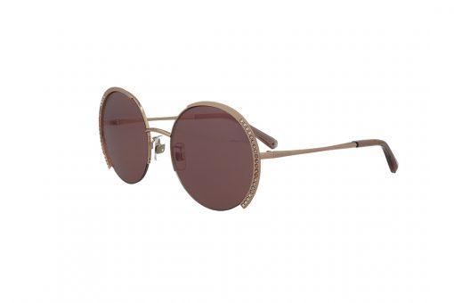 משקפי שמש Swarovski בסגנון מעוגל בגוון זהב ועדשות בגוון ורוד